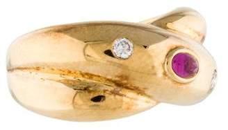 Cartier 18K Pink Sapphire & Diamond Crossover Ring