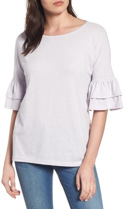 Petite Women's Caslon Tiered Bell Sleeve Tee $39 thestylecure.com