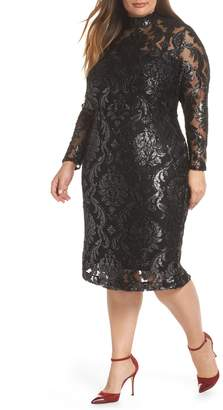 Rachel Roy Metallic Overlay Dress