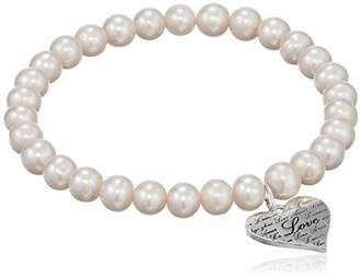 Heart Charm with 'Love' Inscription on Dyed Potato Freshwater Cultured Pearls Stretch Charm Bracelet