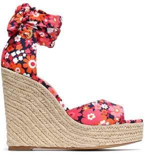 Michael Kors Lace-Up Floral-Print Crepe Wedge Espadrille Sandals