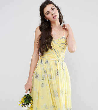 Asos Tall TALL WEDDING Rouched Midi Dress in Sunshine Floral Print
