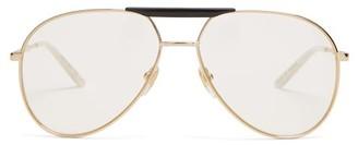 Gucci Aviator Frame Glasses - Mens - Gold
