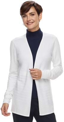 Dana Buchman Women's Mixed-Stitch Open Front Cardigan