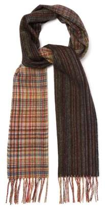 Paul Smith Signature Stripe And Check Wool Scarf - Mens - Multi