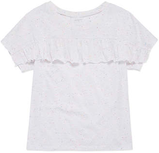 Arizona Short Sleeve Ruffle Front Tee - Girls' 4-16 & Plus