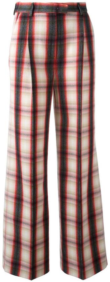 MSGM checked flared trousers