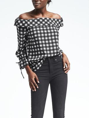 Easy Care Gingham Off-Shoulder Top $88 thestylecure.com