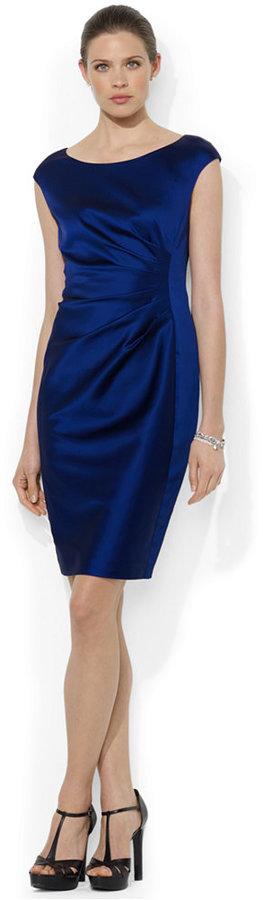 Lauren Ralph Lauren Cap-Sleeve Satin Sheath Dress
