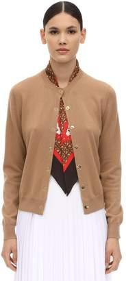 Burberry Cashmere Knit Cardigan W/ Silk Scarf