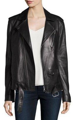 Theory Tralsmin Wilmore Leather Biker Jacket, Black $1,395 thestylecure.com