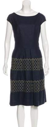 Lela Rose Wool Midi Dress