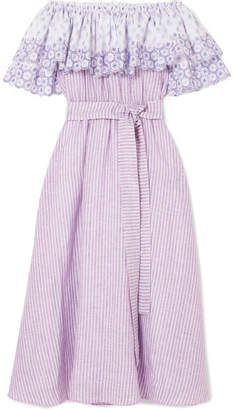 Gül Hürgel - Off-the-shoulder Broderie Anglaise-trimmed Striped Linen Dress - Lavender