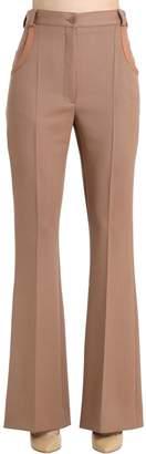 Nina Ricci Heavy Wool Gabardine Flared Pants