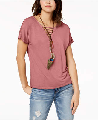 Hippie Rose Juniors' Strap-Detailed T-Shirt