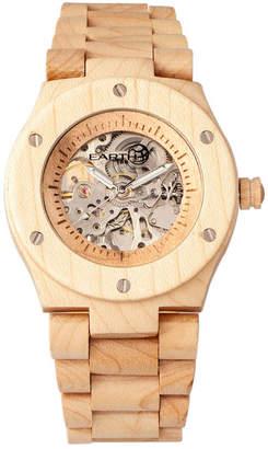 Earth Wood Grand Mesa Automatic Skeleton Wood Bracelet Watch Khaki 44Mm