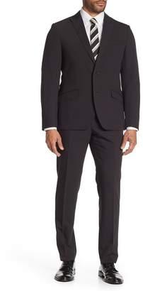 Brixton SAVILE ROW CO Black Solid Two Button Peak Lapel Skinny Fit Suit
