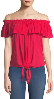 Dex Off-The-Shoulder Tie-Hem Blouse
