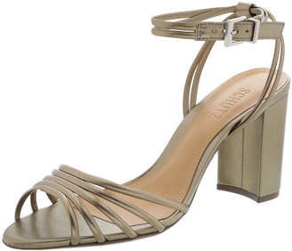 Schutz Nicolai Strappy Metallic Block-Heel Sandals