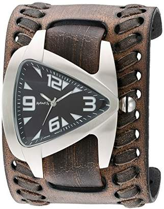 Nemesis Men's 'Oversized Teardrop Series' Quartz Stainless Steel and Leather Watch