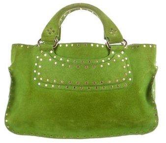 CelineCéline Suede Embellished Handle Bag