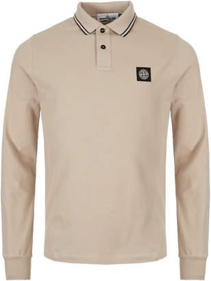 Stone Island Long Sleeve Polo Shirt - Beige