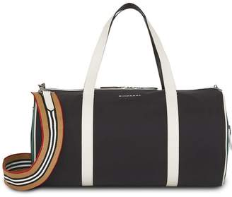 Burberry Medium Tri-tone Nylon and Leather Barrel Bag