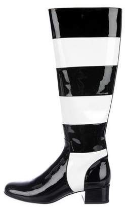 96df1316869 Saint Laurent Two-Tone Patent Leather Knee-High Boots