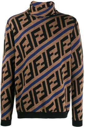 Fendi Zucca logo intarsia turtleneck jumper