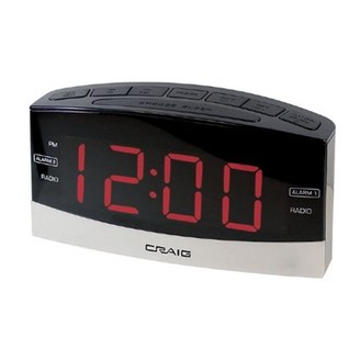 "Craig Electronics 1.8"" Dual Alarm Clock Digital PLL AM/FM Radio with Bluetooth"