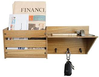 ChasBete Wall Shelf Mail Organizer 3 Metal Hooks Wall Mounted Rustic Mail Slot Entryway