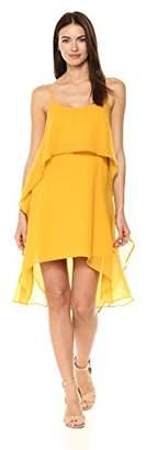 Halston Women's Sleeveless Round Neck Flowy Layered Flounce Dress