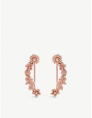 Olivia Burton Bee Bloom 18ct rose gold-plated floral and bee crawler earrings
