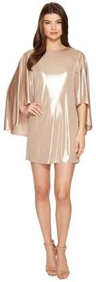 Halston Flowy Sleeve Round Neck Metallic Jersey Dress Women's Dress