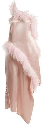 Marques Almeida Marques'almeida - Asymmetric Feather Embellished Satin Dress - Womens - Pink