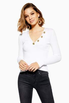 Topshop Hammered Button Knitted Top