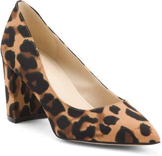 Leopard Block Heel Pointy Toe Pumps