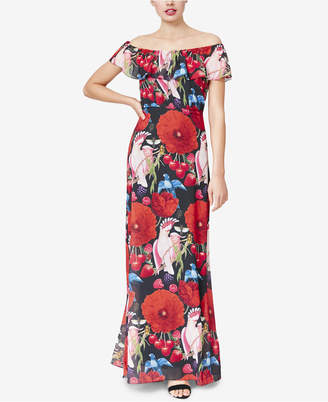 Betsey Johnson Floral Printed Off-The-Shoulder Maxi Dress