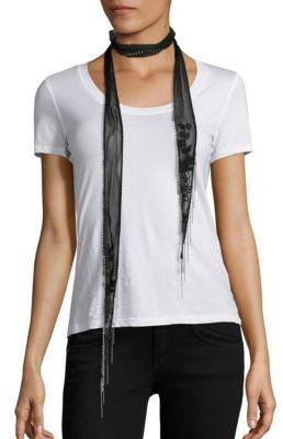 Chan LuuChan Luu Floral-Embroidered Chiffon Long Skinny Scarf