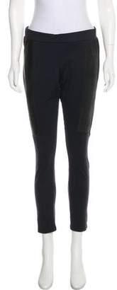 David Lerner Leather-Trimmed Skinny Leggings