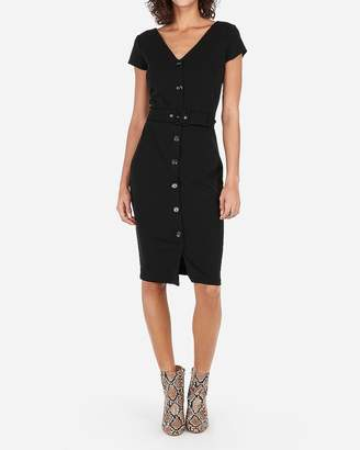 Express Belted Button Front Sheath Dress