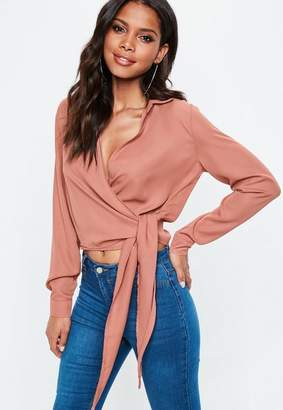 Missguided Rose Wrap Over Tie Side Blouse