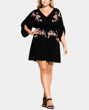 City Chic Trendy Plus Size Floral-Embroidered Tunic
