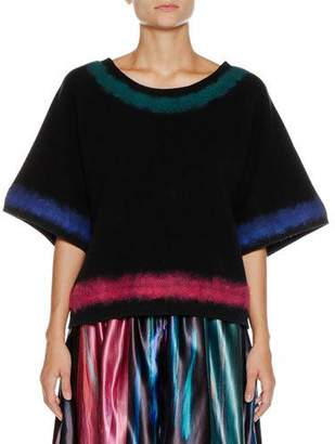 Giorgio Armani Round-Neck Elbow-Sleeve Wool-Cashmere Sweater