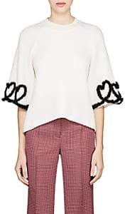 Fendi Women's Heart-Detailed Rib-Knit Wool-Blend Top-White