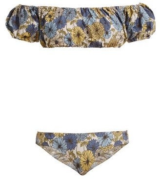 Lisa Marie Fernandez Leandra Off The Shoulder Floral Print Bikini - Womens - Cream Multi