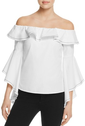 AQUA Off-the-Shoulder Ruffle Top - 100% Exclusive $58 thestylecure.com