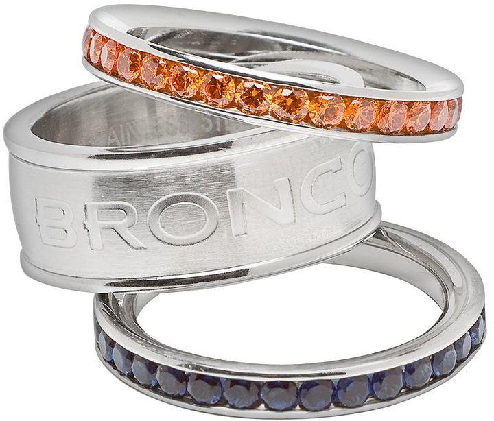Denver broncos stainless steel crystal stack ring set