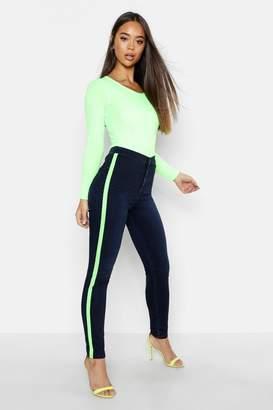 boohoo Neon Side Stripe Skinny Jean