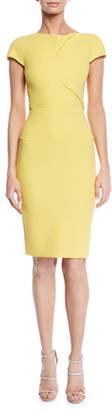 Roland Mouret Ivy Cap-Sleeve Tucked Asymmetric Dress